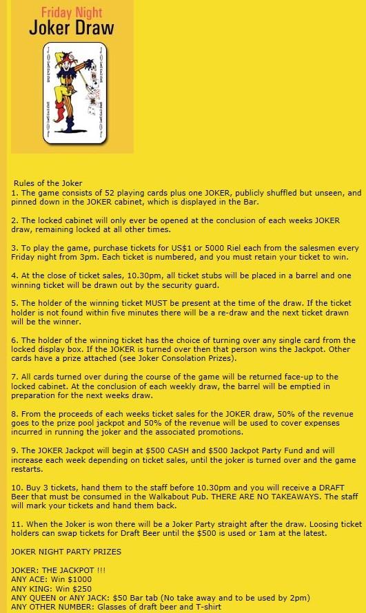 Die original Spielregeln vom Joker Draw des Walkabout.